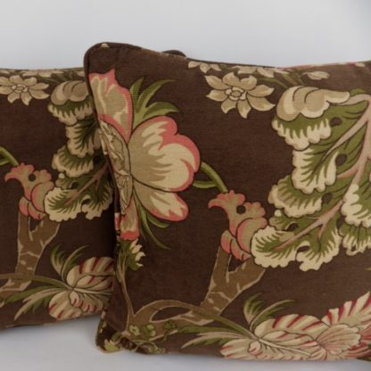 Brown Red Green Jacobean Floral Chenille Cushions