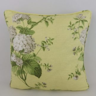 Yellow Grey Green Hydrangea Rose Floral Cushion