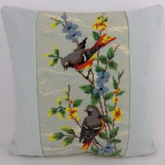 Vintage Bird Floral Bllue Orange Yellow Needlepoint Tapestry Cushion