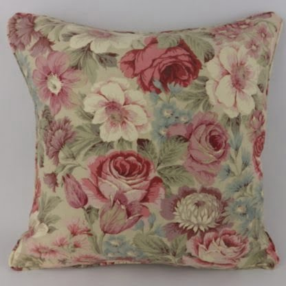 Scented Garden Floral Rose Pink Red Mauve Sanderson Cushions