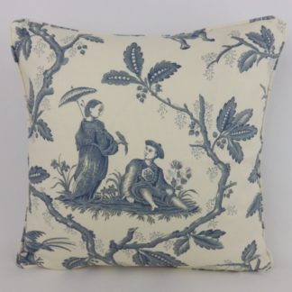 Chinese Toile Colefax and Fowler Slate Grey Blue Cushions