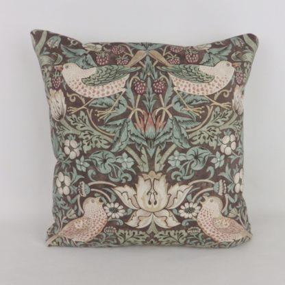 Brown William Morris Strawberry Thief Bird Cushion