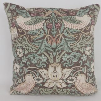 Brown William Morris Strawberry Thief Bird Cushion