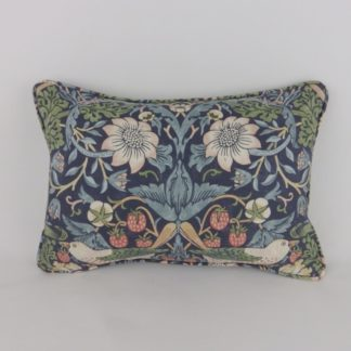 Blue Mineral Strawberry Thief William Morris Oblong Lumbar Cushion