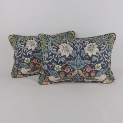 Blue Mineral Strawberry Thief William Morris Oblong Lumbar Cushion