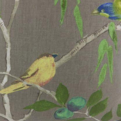 Chartreuse Green Blue Grey Birds Cushion