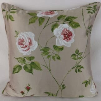 Jane Churchill Rossana Silk Cushions Red Green Rose