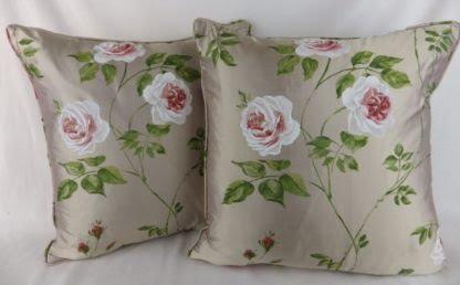 Jane Churchill Rossana Silk Cushions Red Green Rose