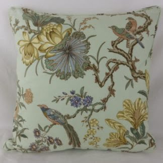 Soft Green Bird Floral Cushion