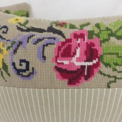 Rose Floral Vintage Wool Tapestry Needlepoint Cushion