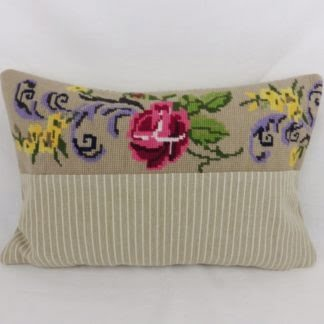 Red Pink Rose Floral Vintage Wool Tapestry Needlepoint Cushions