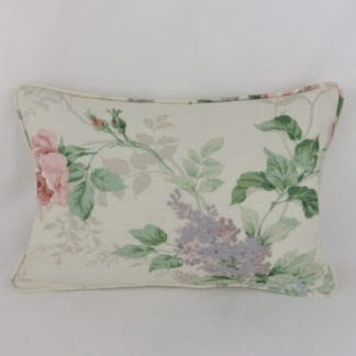 Vintage Rose Lilac Floral Sanderson Rosamund Oblong Cushions