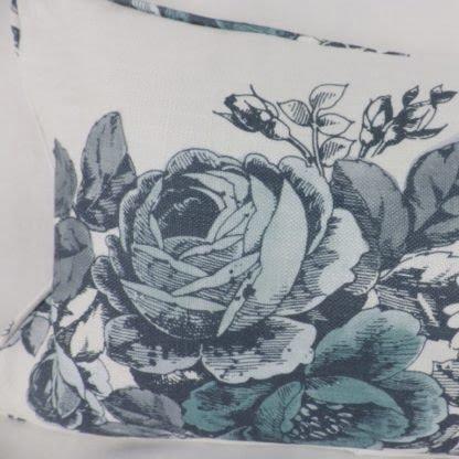 Duck Egg Blue Grey Roses Floral Lumbar Cushion