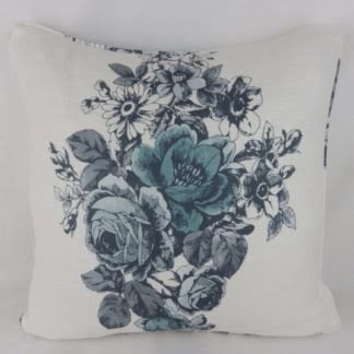 Blue Grey Rose Toile Cushions
