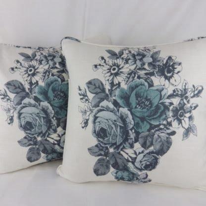 Duck Egg Blue Grey Roses Floral Cushion
