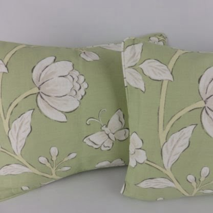 Green White Country Floral Butterfly Cushions