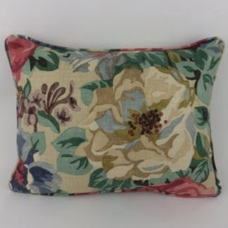 Vintage Floral Red Blue Antique Rose Linen Oblong Cushion
