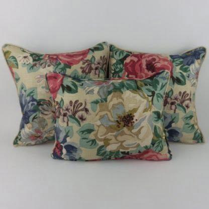 Vintage Floral Red Blue Antique Rose Linen Cushions