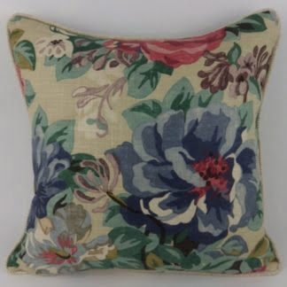 Vintage Floral Red Blue Antique Rose Linen Cushions