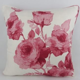 Red Pink Watercolour Rose Floral Cushion