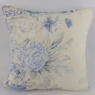 Blue Cream Rose Mallow Baker Lifestyle Floral Cushions