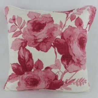 Red Watercolour Rose Floral Cushion