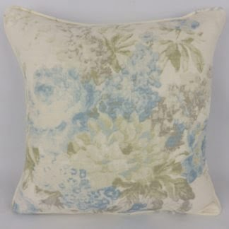 Soft Blue Green Faded Floral Cushions