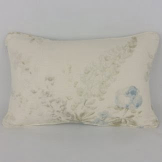 Soft Blue Green Faded Floral Lumbar Cushions