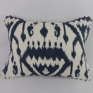 Schumacher Vientiane Ikat Print Indigo Linen Cushions
