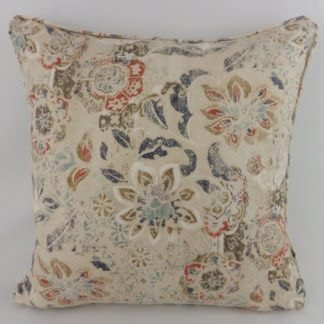Woodcut Indigo Coral Linen Floral Cushions