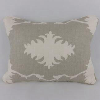 Garden of Persia Dove Grey Schumacher Linen Oblong Cushion