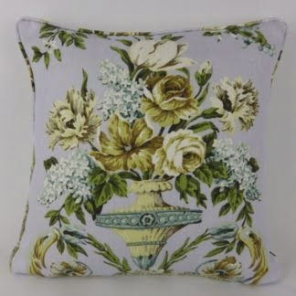 Blue Green Country Floral Vase Linen Cushion