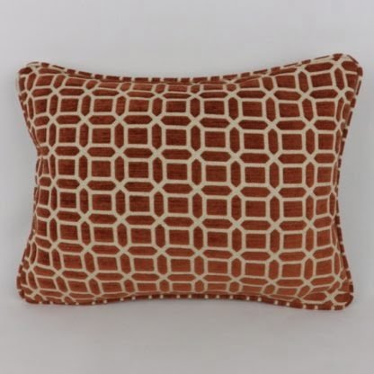 Terracotta Velvet Chenille Natural Linen Geometric Oblong Lumbar Cushions