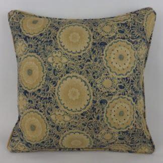 Sapphire Blue Kiku Suzanne Tucker Floral Roundel Linen Cushions