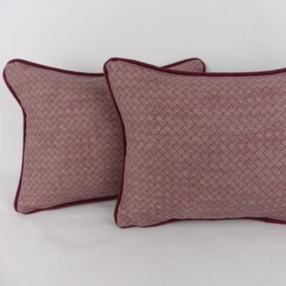 Deep Red Country Basketweave Cushions