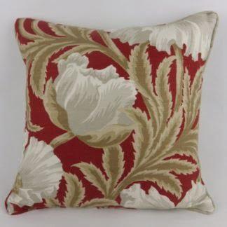 Red Linen Sissinghurst Baker Lifestyle Floral Cushion