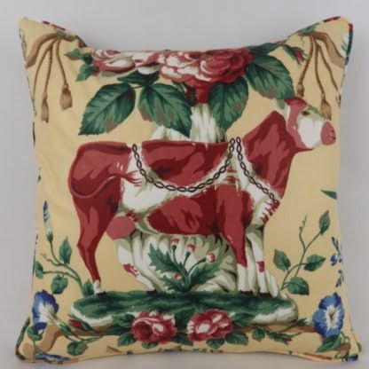 Vintage China Cow Country Floral Les Animaux Ramm Fabric Cushion