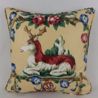Vintage China Stag Floral Les Animaux Ramm Fabric Cushion