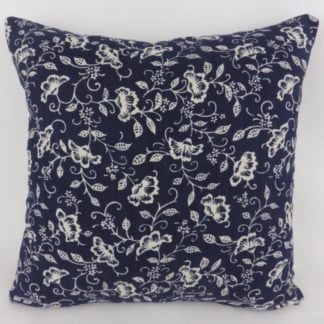 Navy Dark Denim Blue Floral Cushions