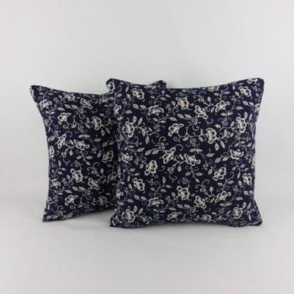 Navy Dark Denim Blue Floral Cushions