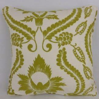 Green Cream Damask Floral Cushions