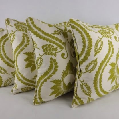 Green Cream Damask Floral Cushions