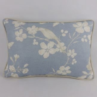 Sky Blue Taupe Bird Floral Cushion