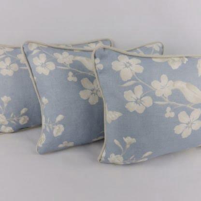 Sky Blue Taupe Bird Floral Cushion