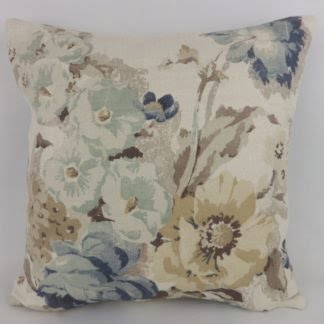 Natural Linen Denim Blue Country Floral Cushion