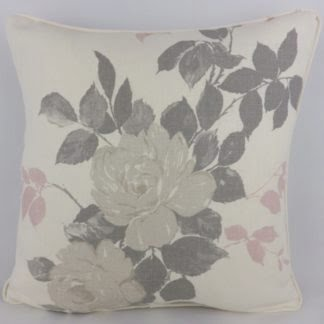 Grey Pink Garden Roses Cushion
