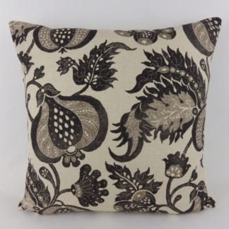 Sanderson China Blue Natural Black Linen Block Print Cushions