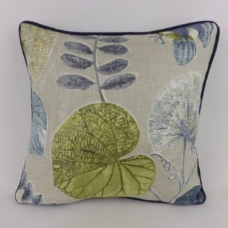 Ink Chartreuse Green Blue Leaf Harlequin Dardanella Cushions