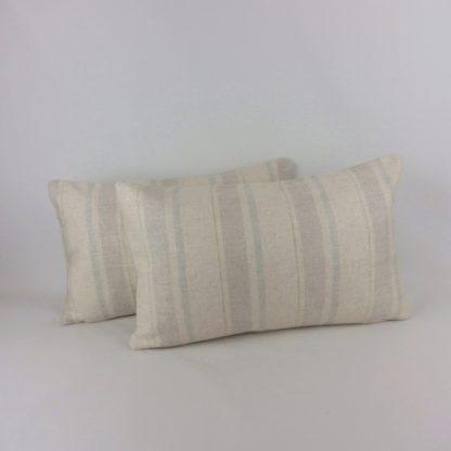 Blue Grey Stripe Linen Oblong Bolster Cushion