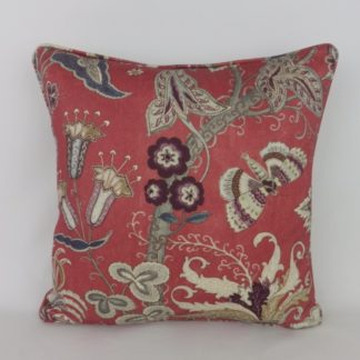 Designer Wool Floral Indienne Paisley Red Grey Cushion